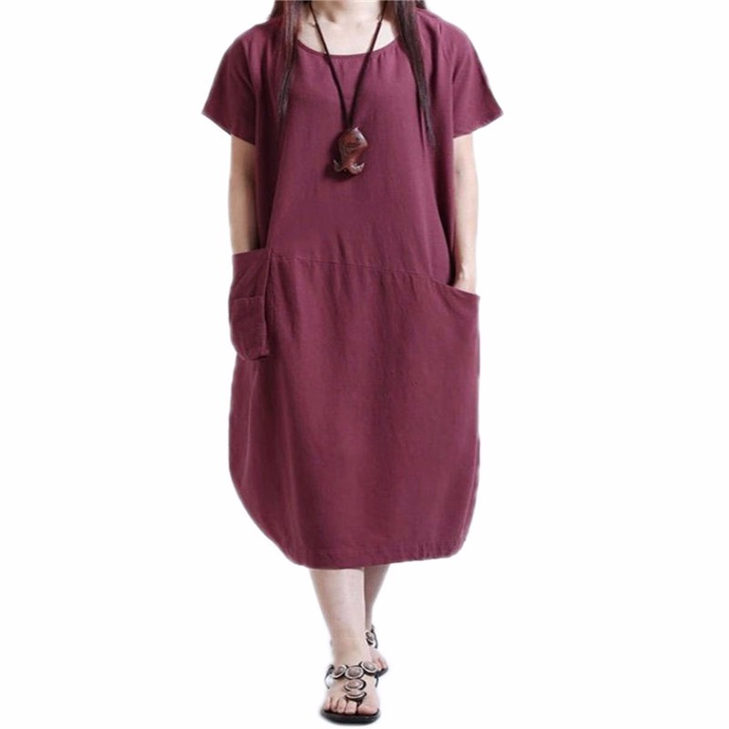 Summer New 2018 Retro Pregnant Dress Casual Mid-calf Dresses Loose Maternity Clothings Short Sleeve Pregnancy Vestidos 3 Colors