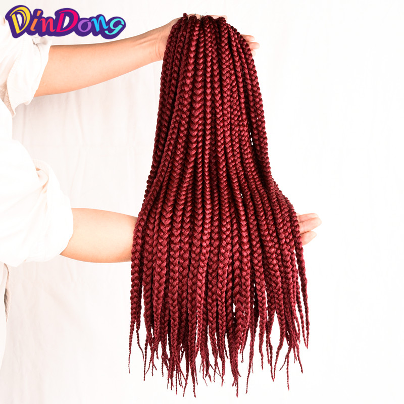 Dindong 12 18 22 Medium Box Braids Crochet Hair Extensions Ombre Kanekalon Fiber Synthetic Braiding Bulk