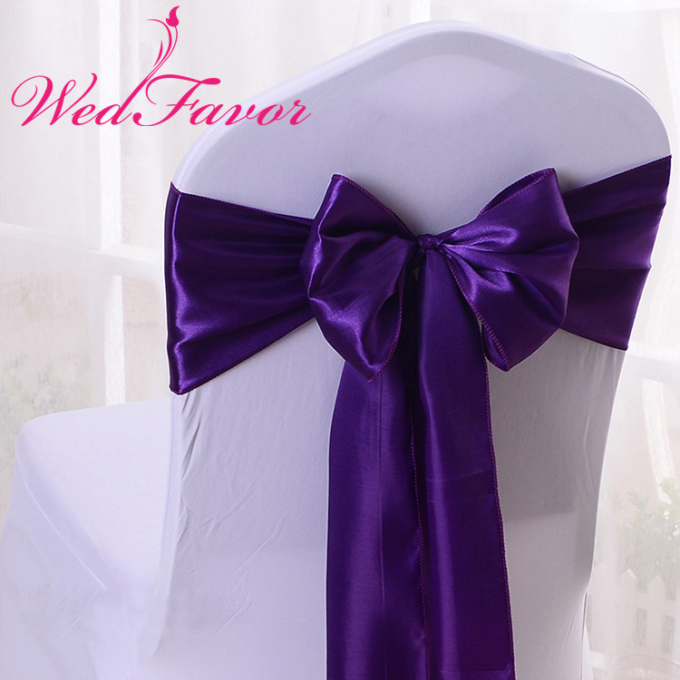 WedFavor 100pcs High Quality Dark Purple Satin Chair Sashes Wedding Satin Chair Bow Ties For Event