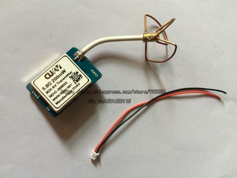 FPV Mini 5.8G 200mW Telemetry AV Transmitter w/Clover Antenna for RC Airplane High Quality + Tracking Number SKU:11242 fpv5802 5 8g 200mw av sender transmitter fox r58 receiver set for fpv telemetry system 20739