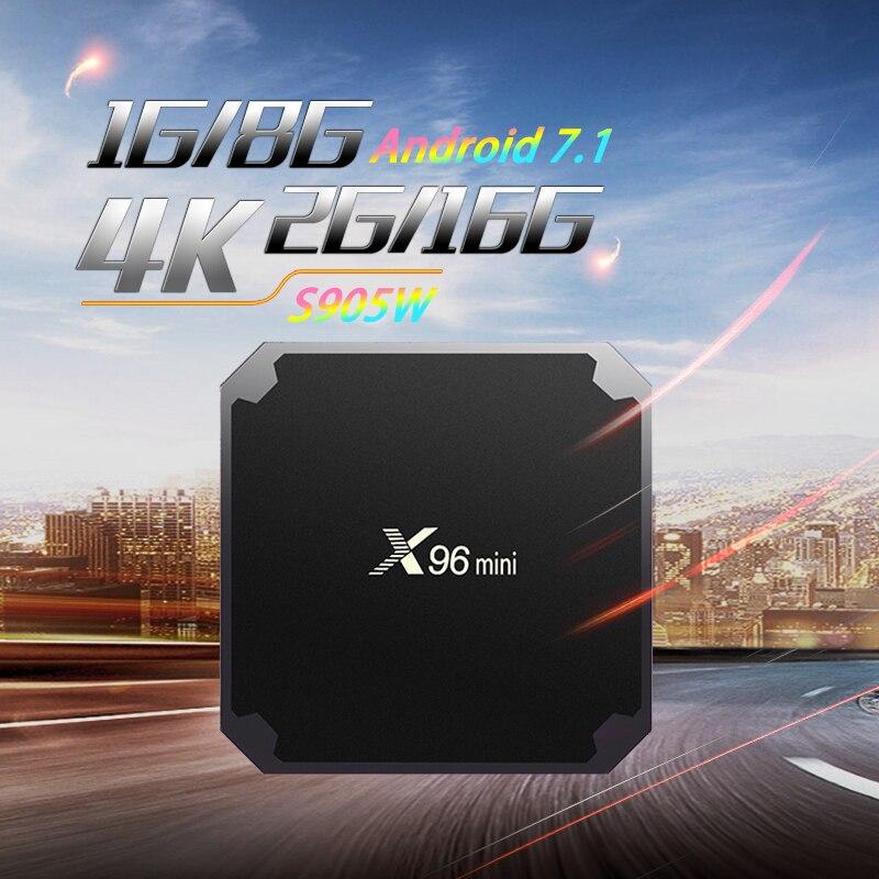 X96mini Android 7,1 TV caja Amlogic S905W 2GB16GB HDR 10bit Suppot 2,4 GHz WiFi H.265 Media Player PK Tx3mini TX2