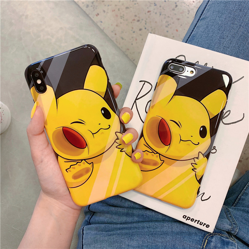 Cartoon cute pocket anime case for iphone 6 6s 8 7 plus glossy Sequins silicone soft cover xsmax xr x monsters