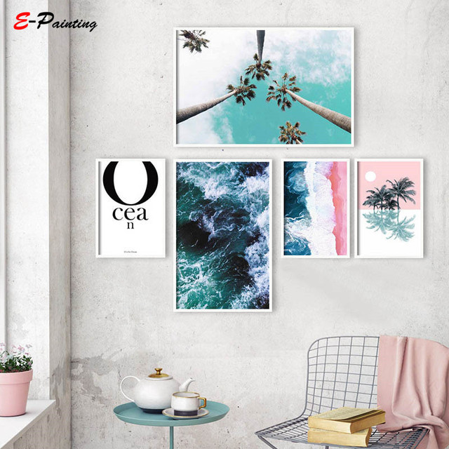 Modern Wall Painting Aerial Beach Photography Large Poster Canvas Art Print Coastal Decor Pink and Blue Abstract Ocean Waves
