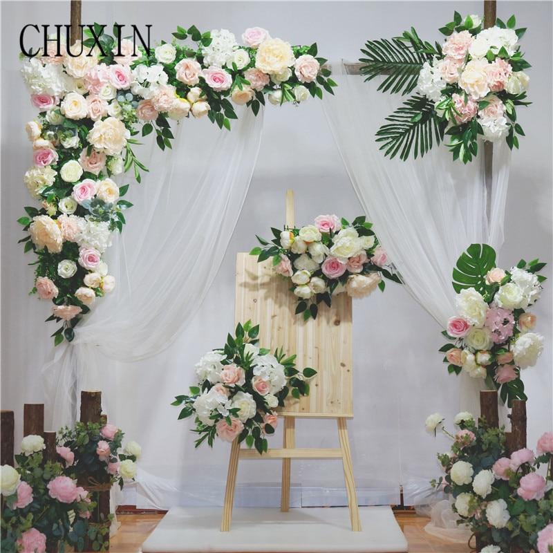 Wedding Prop Artificial flower arch door flower row custom made lawn wedding pre-function background decoration silk fake flower(China)