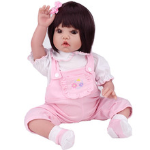 Lifelike Silicone Reborn Baby Dolls 22″ Vinyl Black Hair Girl for Playhouse Game Kids Gifts Toy Hobbies