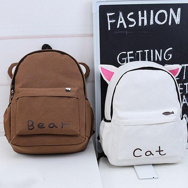 Women Harajuku style Long Ears Rabbit Cute Cat Brown Bear backpack Student  School Bag Travel Backpack FA B Women bag 23cca0d6d