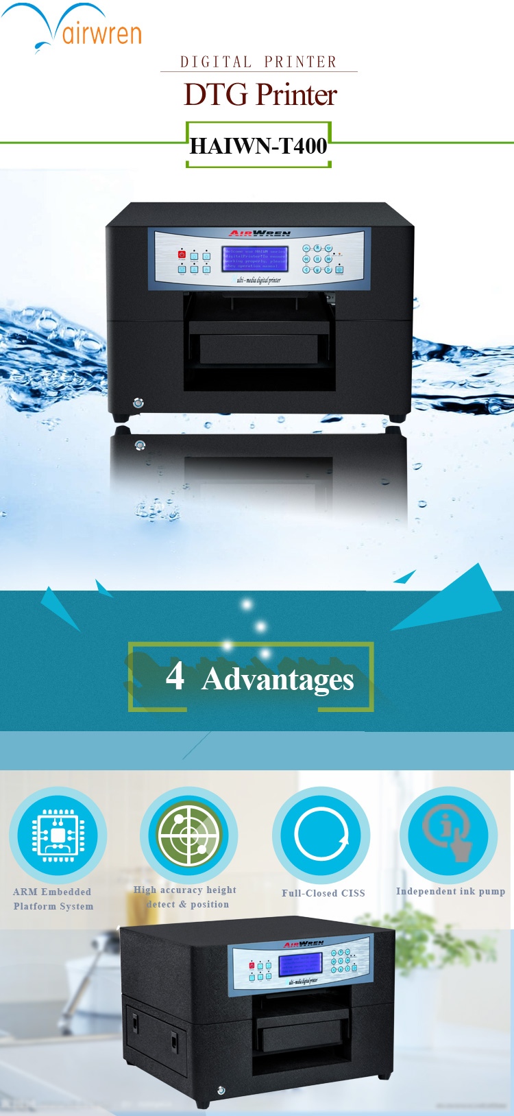 Digital A4 Flatbed t shirt printer 6 color textile directly printing machine