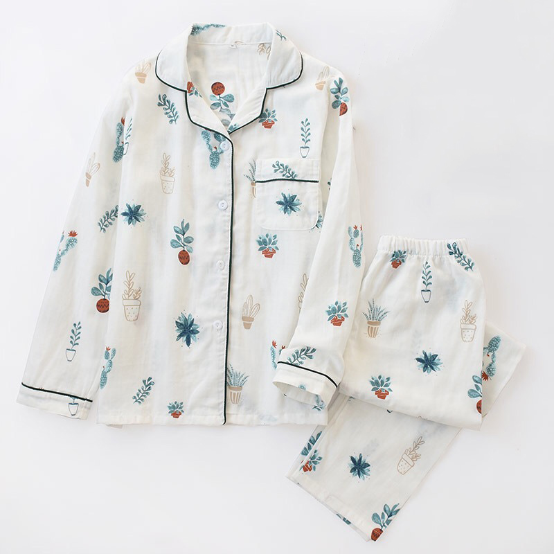 2019 New Potted Plant   Pajama   Women's 100% Gauze Cotton   Pajama     Set   With Long-sleeve Turn-down Collar Household Clothes Sleepwear
