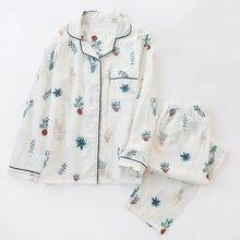 2019 nuevo pijama de planta en maceta, conjunto de pijama de algodón de gasa 100% para mujer con cuello doblado de manga larga, ropa de dormir para el hogar