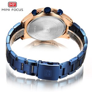 Image 5 - MINI FOCUS Mens Business Dress Watches Stainless Steel Luxury Waterproof Chronograph Quartz Wrist Watch Man Silver 0218G.03