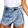2017 Verão Casual Shorts Mulheres Cintura Alta Shorts Jeans FL361 Irregularidades Pilha Cruz Calça Jeans Curto Plus Size Short Feminino