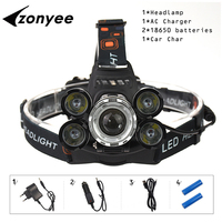 Zonyee Headlight 35000 Lumen Headlamp 5 Chip XM L T6 Q5 LED Head Lamp Flashlight Torch