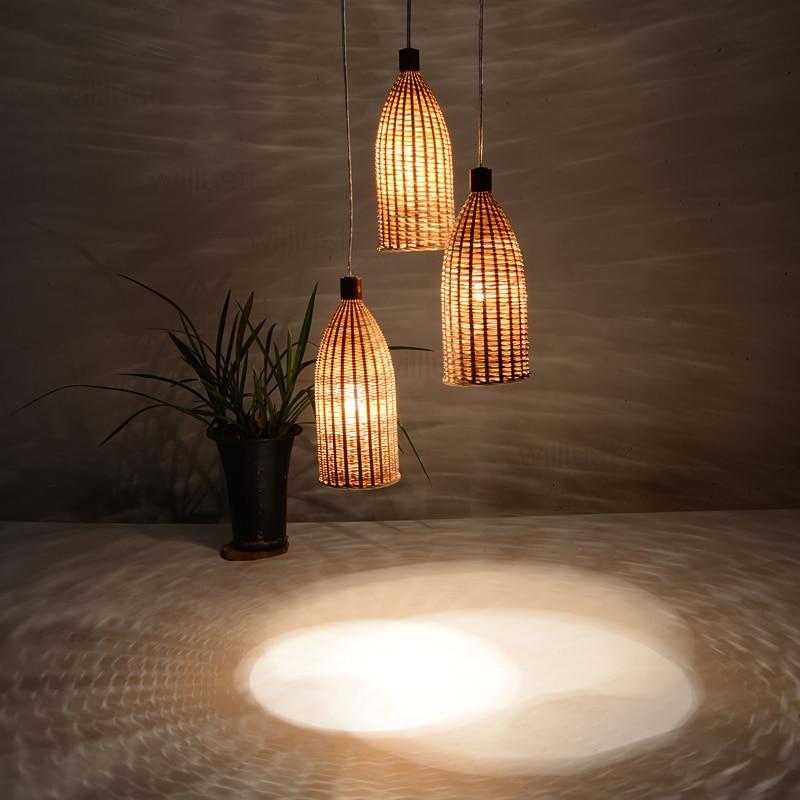 handmade bamboo pendant lamp dinning living room suspension light handmade wicker lighting hotel hall restaurant hang lighting