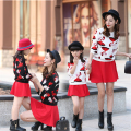 Mother and Daughter Clothes in Family Matching Outfits Mother Daughter Clothing Sets T-shirt Print Mermaid+Skirt Winter Roupa