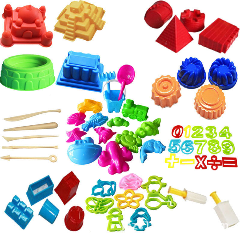 60 Pcs Big Collection For Sand Playing Models Sand Play Fun Little Toys Sculpts Castle Molds Tool Kit  A Kinetic Sensory Art