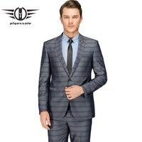 Plyesxale костюм в полоску Для мужчин 2018 Slim Fit цвета: золотистый, серебристый серый мужские свадебные костюмы последние конструкции пальто брюки