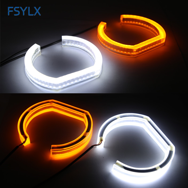 FSYLX E90 sedan 06-11 LED Angel eyes For BMW E90 SMD LED DRL daytime running light with turn signal light Car LED angel eyes hid white 15 smd pw24w pwy24w led bulbs for audi bmw vw turn signal or drl light