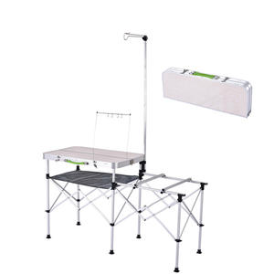 Metal Outdoor Activities Folding Table Self Driving Portable Kitchen Picnic Patio Barbecue Table Outdoor Sets
