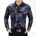 2017 цветы Печати Цветочные Мужчины Рубашка Мода Повседневная Дизайнерский Бренд Сорочка Homme Новые Рубашки