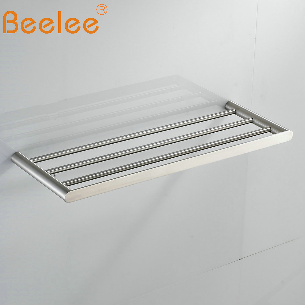 Beelee  Bathroom Minimalist Towel Rack Shelf Wall Mounted Towel Holder,Brushed SUS304 Stainless Steel BA3203SS