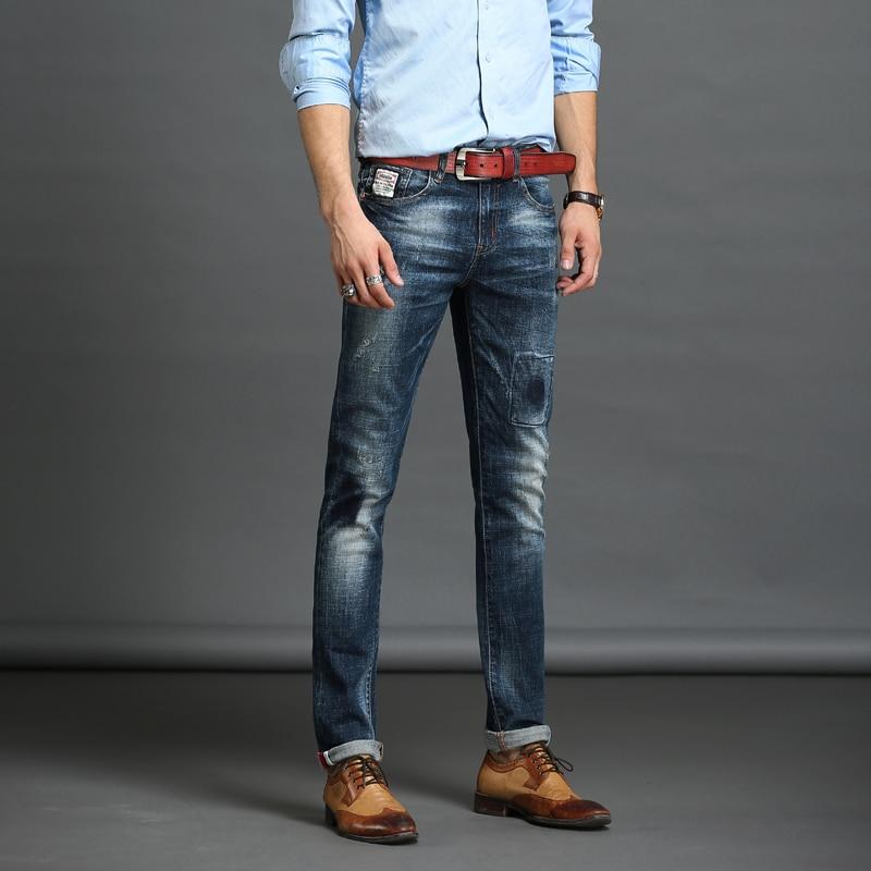 ФОТО Fashion Slim Pants Full Length Hole Skinny Jeans Men Brand Designer Clothing For Men Jeans  Patch Pocket Good Quality Blue