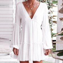 Deep V-Neck White Casual Dress Women Solid Color Long Lantern Sleeve Dress Summer Hem Pleated Mini Sundress Summer Vestido army green oversized round neck pleated hem mini dress