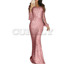 CUERLY 2019 summer Sexy Sequin mermaid Dress evening Party Women Elegant Bodycon Hollow Out Long Sleeve Tassel Slim Maxi Dresses