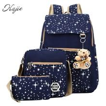 Kajie Summer Women Canvas Backpack Stars Printing Students Bookbag 3 Pcs School Bag Set For Younth Girls With Purse Bear Mochila