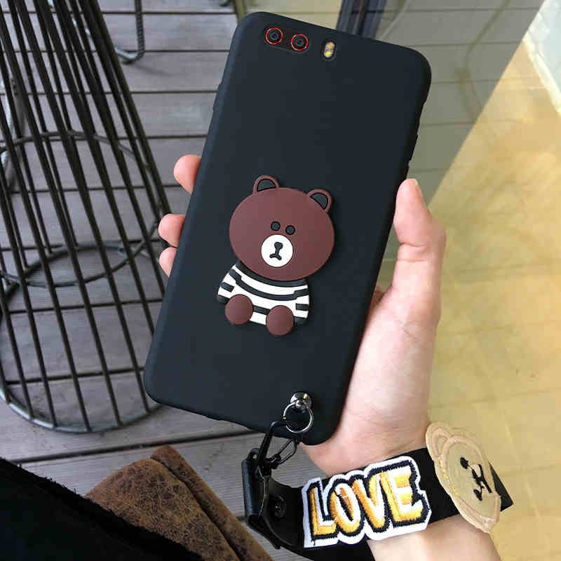 cute stripe 3D brown bear with love rope soft silicon cover case For ZTE Nubia Z17S  Z17 minis