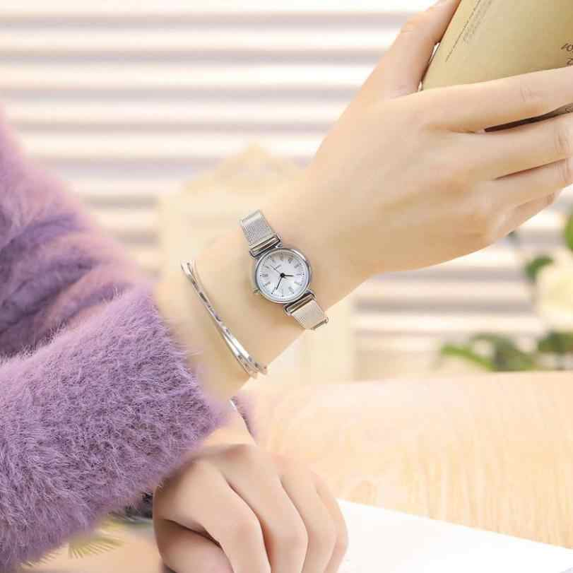 אלגנטי ליידי דק רשת להקת יד שעונים נשים נירוסטה קוורץ שעון צמיד נשים רומי ספרות קטן חיוג # Zer