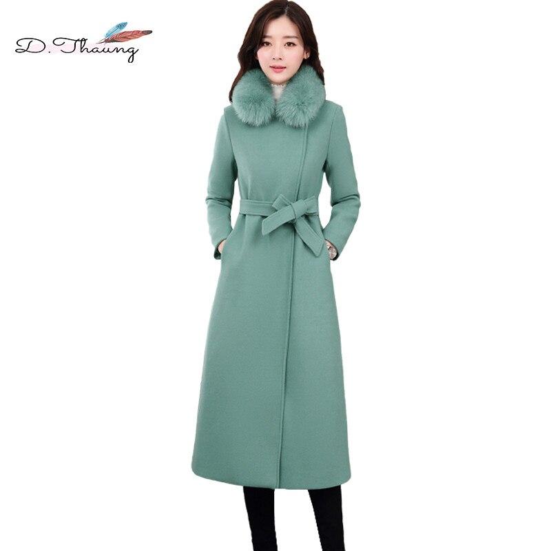 Veste d'hiver femmes 2018 nouveau laçage de haute qualité mi-longueur femme veste en laine mince col en fourrure Simple dames manteau en laine Cw371