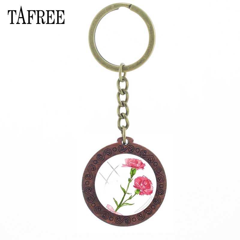 TAFREE Cravo Keychain Chaveiro De Madeira Cabochão de Vidro Da Foto Da Flor Do Vintage Acessórios de Moda Para As Mulheres Presente de Aniversário KL56