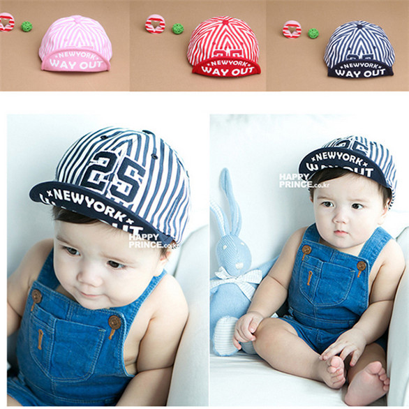 Baby Unisex Kids Girls Boys Stripes Snapbacks Hats Baseball Cap Flat Visor Snapback Caps