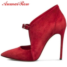 AnmaiRon  Basic Super High Thin Heels Flock Pumps Zapatos De Mujer Women Shoes Pointed Toe Casual Size 34-43 LY965