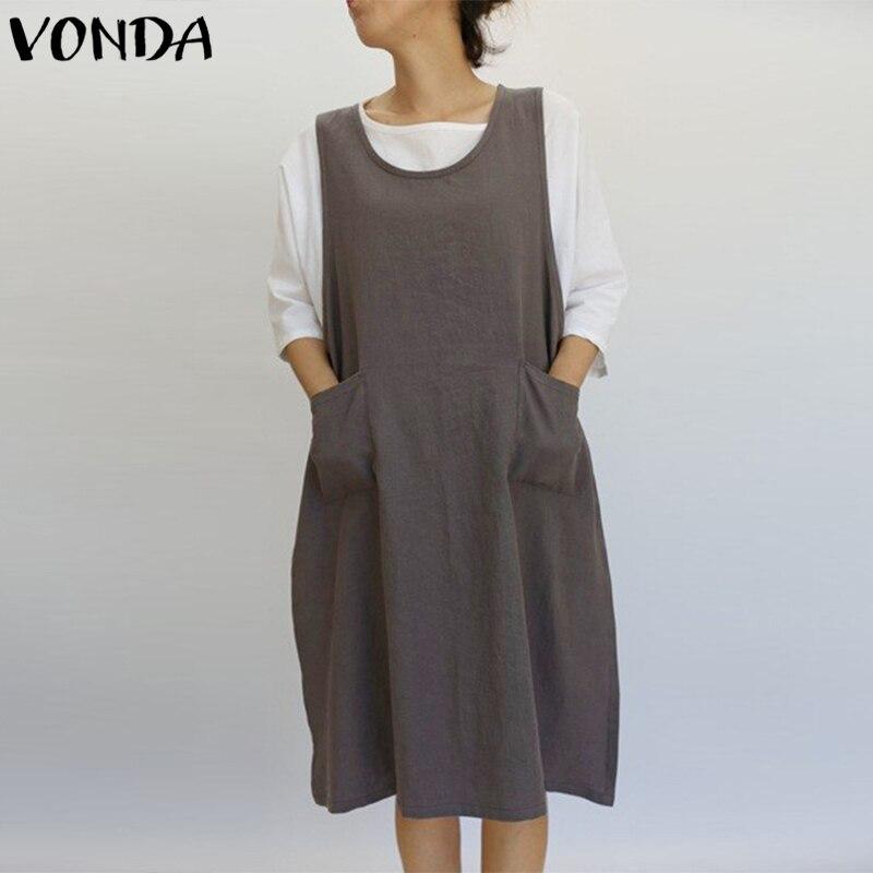 VONDA Women Summer Dress 2018 Fashion Cotton Casual Loose Dresses O Neck Sleeveless Split Hem Vintage Vestidos Plus Size