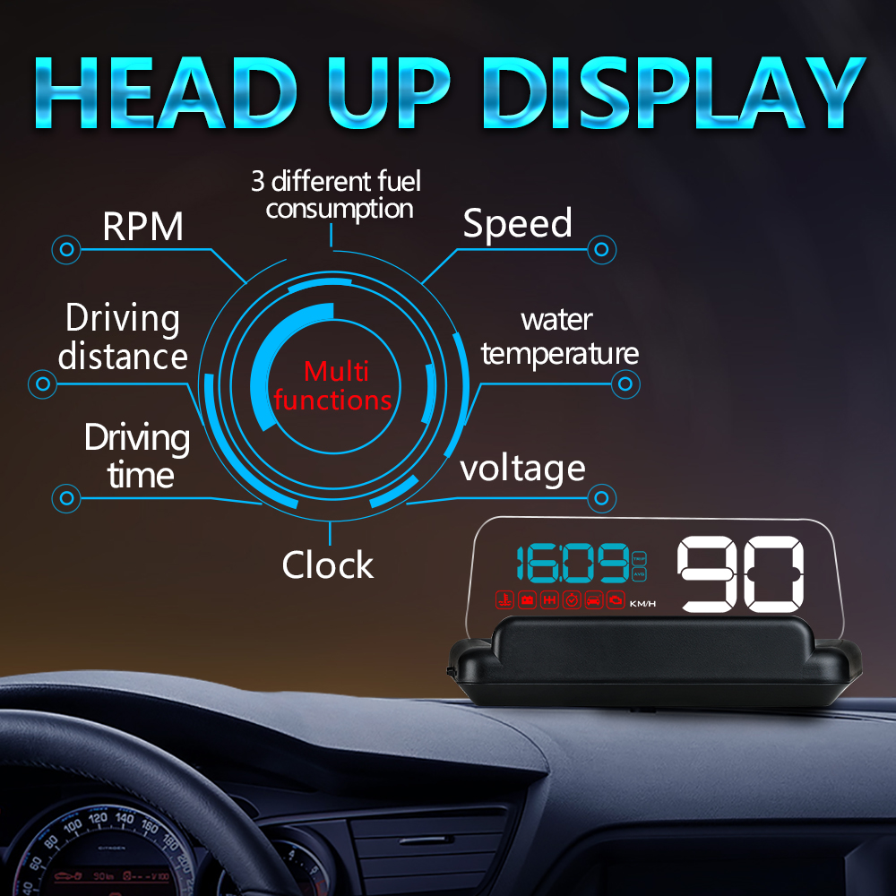 New Car HUD Head Up Display OBD2 EUOBD Overspeed Warning SystemStereoscopic Projector Windshield Auto Electronic Voltage Alarm glcc car hud head up display h400 white led auto windscreen projector available for cars with obd2 and euobd