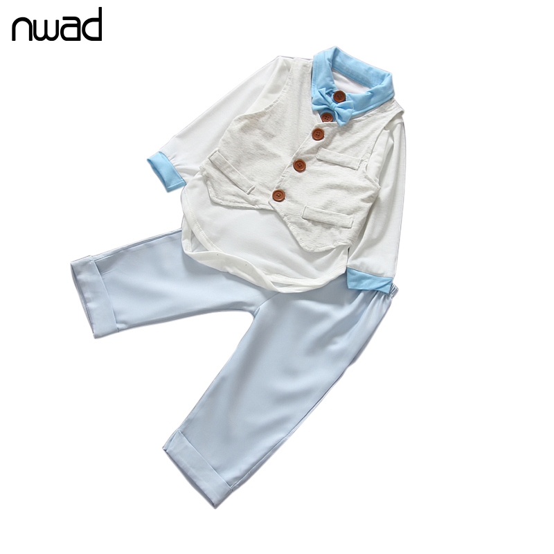 3 Piece Suit For Boys Clothes 2016 New White Cotton Baby Boy Clothing Set Newborn Set Long Sleeve T Shirt +Vest +Pant FF056 3pcs set baby boy clothes newborn gentleman baby clothing shirt vest pants baby boy clothing set