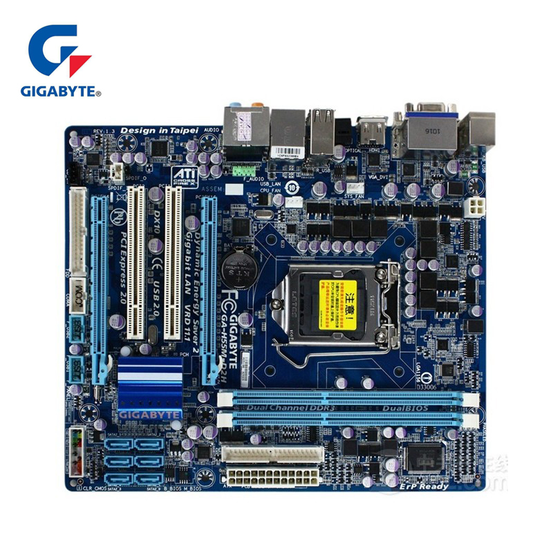 Gigabyte GA-H55M-D2H 100% Original Motherboard LGA 1156 DDR3 8G H55 D2H H55M-D2H Desktop Mainboard SATA II Systemboard Used big size 40 41 42 women pumps 11 cm thin heels fashion beautiful pointy toe spell color sexy shoes discount sale free shipping