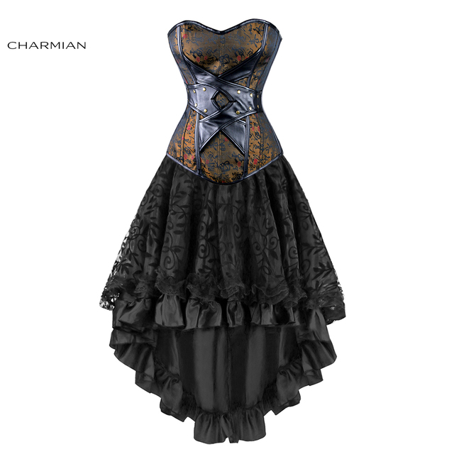 39d7f65f6a3 Charmian Women s Sexy Gothic Victorian Steampunk Corset Dress Leather  Overbust Corsets and Bustiers Skirt Party Waist Trainer
