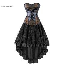 Charmian feminino sexy gótico vitoriano steampunk espartilho vestido de couro overbust espartilhos e bustiers saia festa cintura trainer