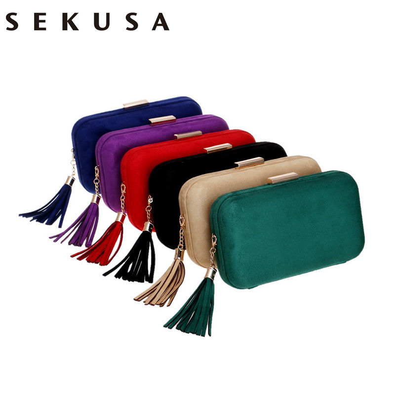 SEKUSA New Arrival Women Evening Bags Fashion Velvet Lady Shoulder Purse Tassel Female Party Wedding Clutches