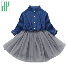 цены Children kids costume lace toddler baby girls dress Blue Party Ball Gown princess autumn dress girls clothes 2 3 4 5 8 9 years