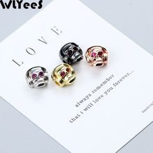 WLYeeS 4pcs listen to music Red Eye Skull Charm Copper Bead Pave CZ Metal Loose Bead For Jewelry Bracelet Making DIY Accessories what to listen for in music