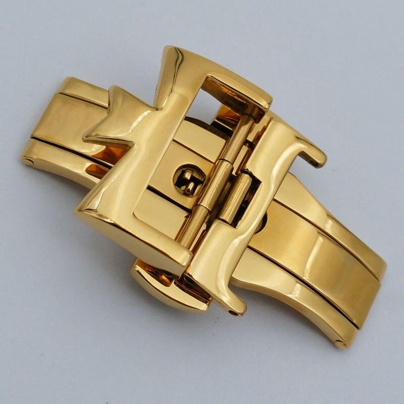 MAIKES, gran calidad, cierre de reloj de acero inoxidable 316L, 18mm, 20mm, correa de reloj de cuero, hebilla de mariposa para Constantin Correa de cuero para mi band 4 3, correa de pulsera de Metal para xiaomi band 4, pulsera deportiva transpirable para mi band 4, pulsera xiaomi