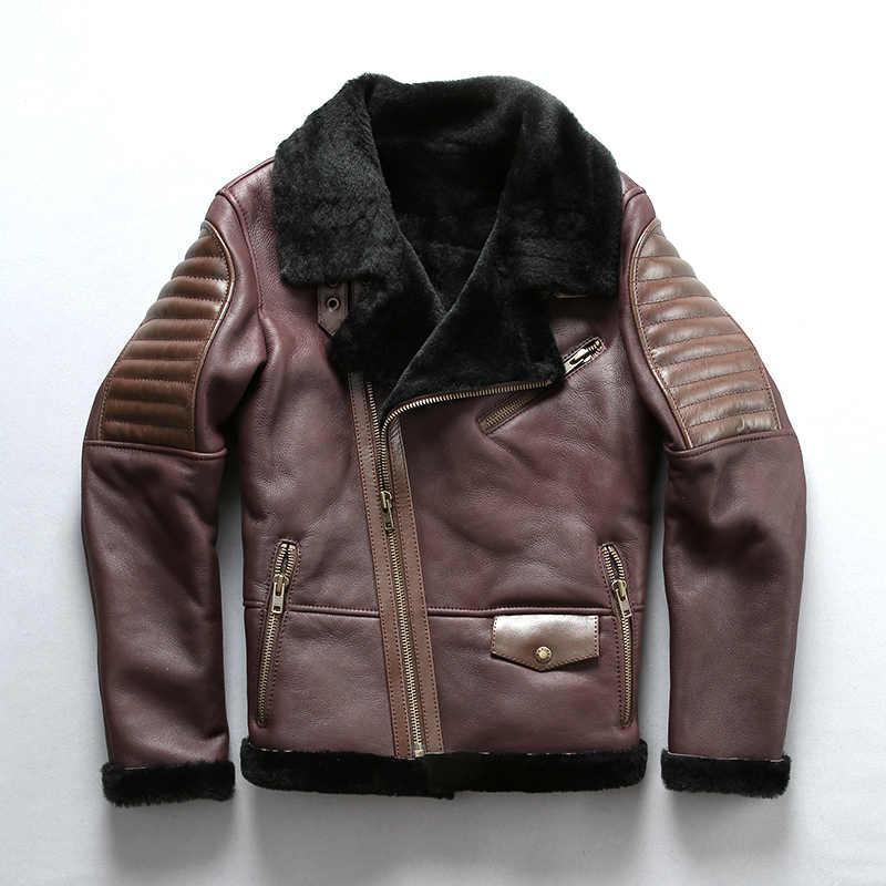 2018 nuevo hombre chaqueta de esquilar B3 chaqueta de vuelo de lana importada de piel de oveja aviador abrigo de invierno abrigos rusos envío gratis