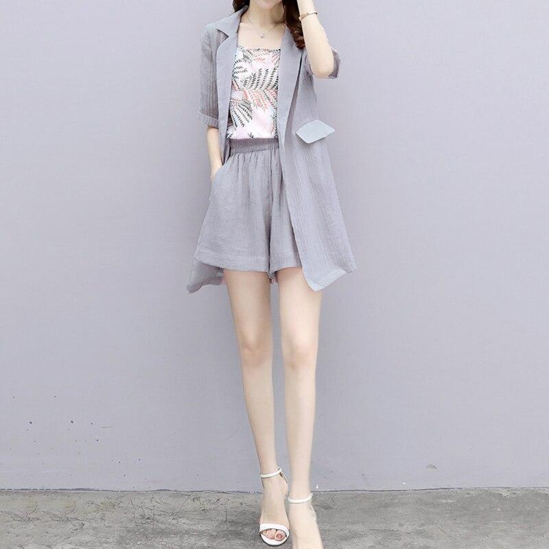 Xy323 gray blue D'été Bretelles Nouveau 2018 Femelle Tops Mode Occasionnel Ensembles Femmes De pièce Petit Costume Shorts Trois Trois pièce White pink HTxq0fR
