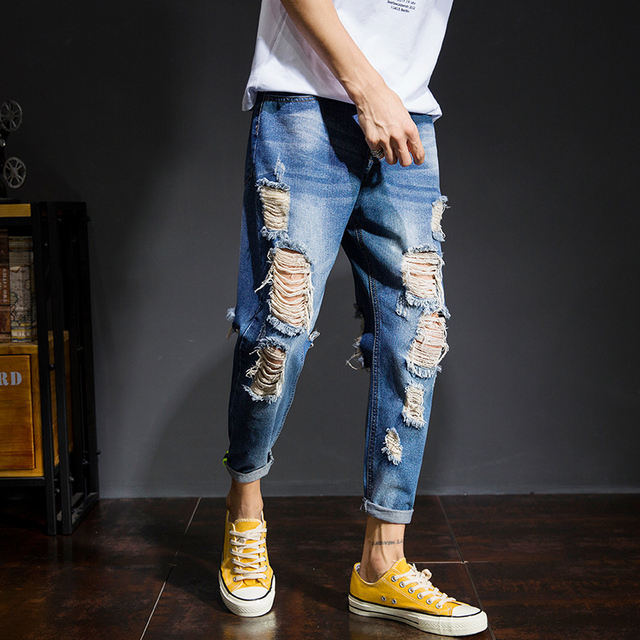 1f5c2482c7fd Japan Style Denim Pants Men 2018 Autumn New Fashion Ripped Jeans Mens Brand  Clothing Slim Fit Casual Pant Boys Trousers Male 38