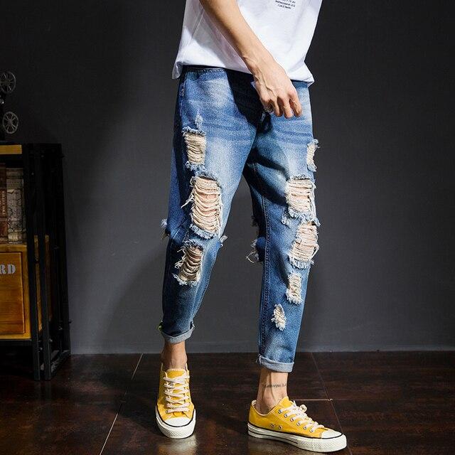 21da8f2cc1 Pantalones vaqueros estilo japonés para hombre 2018 otoño nueva moda Jeans  rasgados ropa de marca para