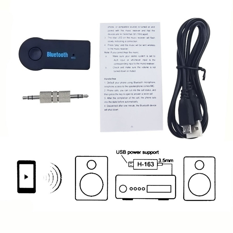 Universal 3 5mm Car Bluetooth Audio Music Receiver Adapter Auto AUX Streaming A2DP Kit for Speaker Headphone in Wireless Adapter from Consumer Electronics