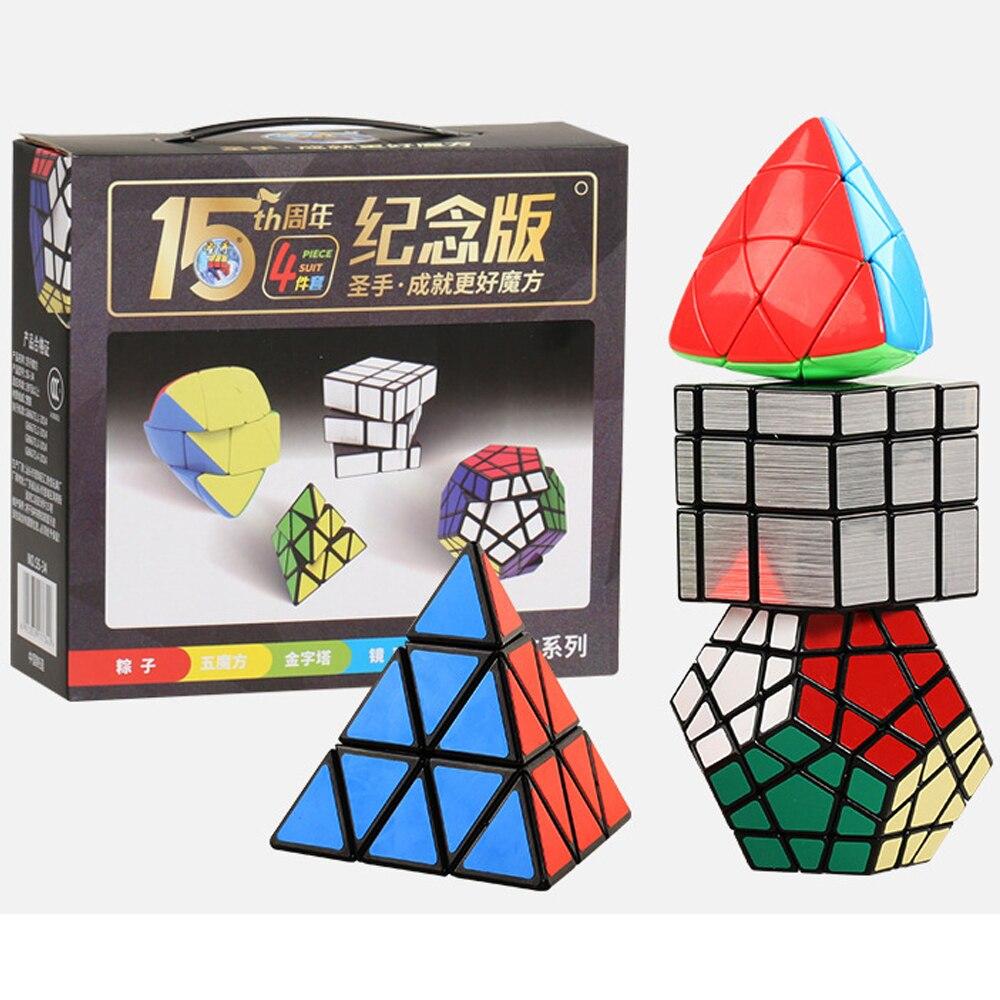 4 pièces/ensemble Cubes magiques de ShengShou 3*3 2*2 4*4 5*5 miroir pyramide Triangle Megaminx Speed Cube 2x2 4x4 5x5 cadeau éducatif pour enfants